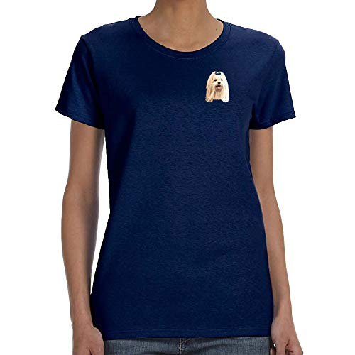 Cherrybrook Dog Breed Embroidered Womens T-Shirts - Medium - Navy - Maltese