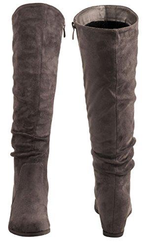 Elara Damen Stiefel | Bequeme Keilstiefel | Langschaft Wildlederoptik Grau Monaco