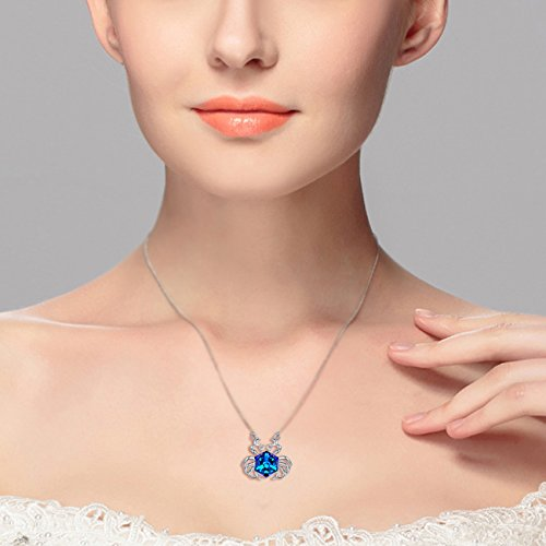 EleQueen 925 Sterling Silver Square Cancer Zodiac Constellation Sign Pendant Necklace Blue Made with Swarovski Crystals