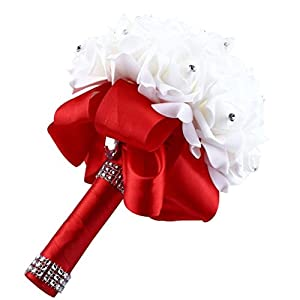 Vibola® Crystal Roses Peony Ribbon Bridesmaid Wedding Bouquet Bridal Artificial Silk Flowers Home Decor (The vases are not included.) (Red) 29