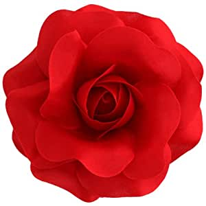 Sara Monica Flower Hair Clip and Pin Rose:Made in the USA (Red)