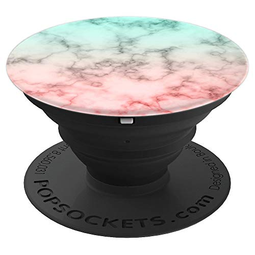 Marble Mint Green Coral Pink Ombre Cute Chic for Women Girls - PopSockets Grip and Stand for Phones and Tablets ()
