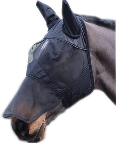 William Hunter Equestrian Full Face Mesh Fly Mask with Ears - Fleece Padded, Sizes: Small Pony, Pony, Cob, Full & Extra Full