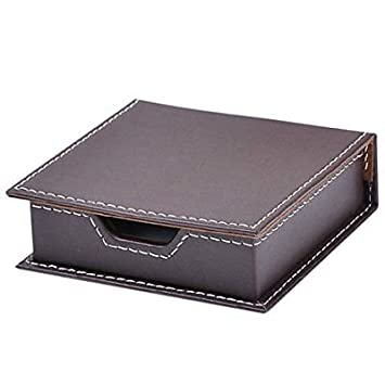 Artikle Leather Corporate Desk Note Organizer with a Lid Cover Name Cards Collectio...