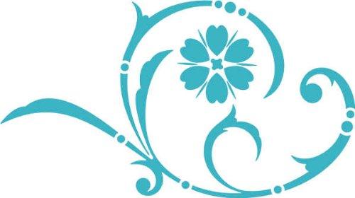 WANDTATTOO / Wandaufkleber - e44 wunderschönes Tribal / Blätter / Blumen / Pflanzen Ranke 160x89 cm - türkis