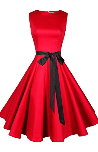 Absolute Rosy Women's Boat Neck Sleeveless Vintage Retro Cocktail Swing Dress Red (Vintage Mod Dresses)