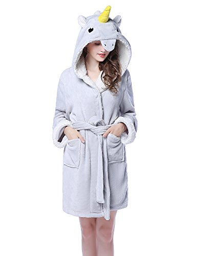 NEWCOSPLAY Adult Unisex Unicorn Hooded Pajamas Robe Costume (L/XL, Grey Unicorn) -