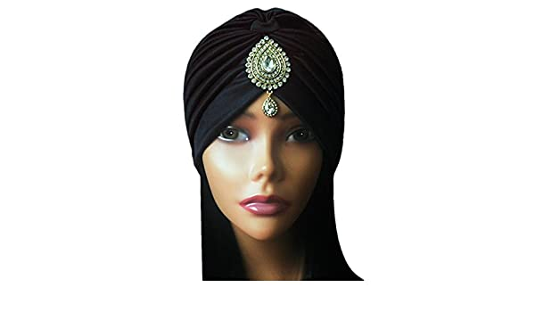 Glamorous Classy Gatsby blanco negro rojo Diamond Gem dorado envejecido turbante bohemio indio Bollywood gran Gatsby: Amazon.es: Joyería