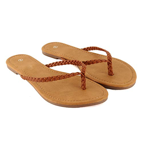 Womens Classic Comfortable Beach Thong Easy Slip On Flip Flop Casual Flat Sandal (9 M US, Tan Braid)
