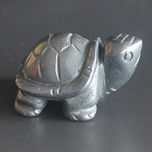 1.6'' Hand Carved Hematite Turtle Figurine Animal Carving