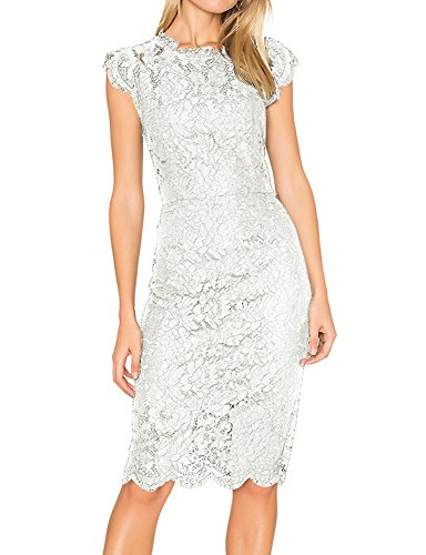c56481c0785 Women s Sleeveless Elegant Lace Floral Cocktail Dress Crew Neck Knee Length  for Formal Party