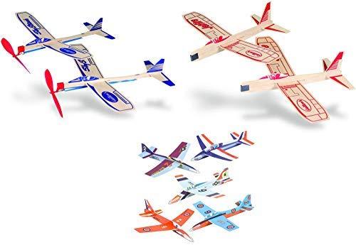 Balsa Wood and Foam Airplane Set - 4 Balsa Wood and 6 Foam Model Plane Kits in 1 Set - Jetfire Plane Twin Set, Sky Streak Propeller Plane Twin Set, and 6 Foam Fighter Gliders