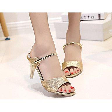 LvYuan Mujer-Tacón Kitten-Confort-Zapatillas y flip-flop-Vestido Informal-PU-Negro Morado Plata Oro Gold