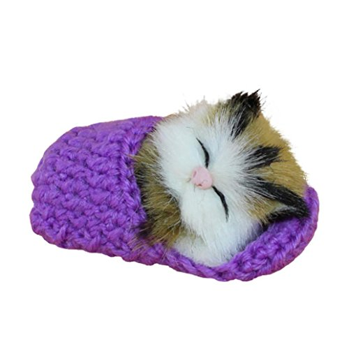 Sleeping Cat Toy   Livoty In Stock Simulation Cat Vocalize Meow Meow Slippers Kitten Plush Toys Doll  Purple