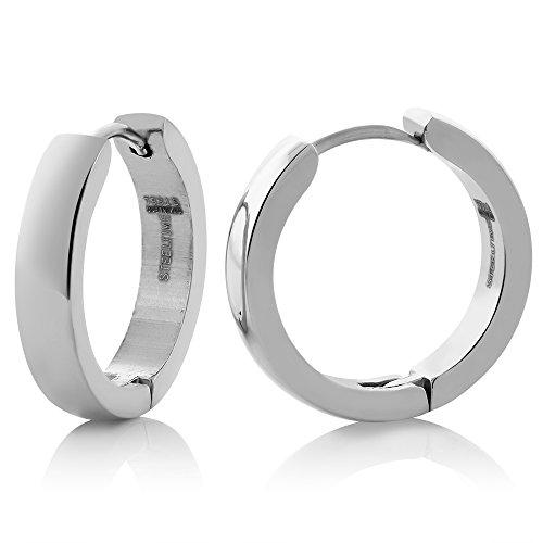 Delicate Hoop (Stainless Steel Round Huggies Hoop Earrings (20MM Diameter & 4MM Width))