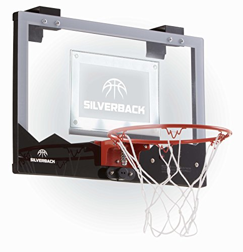 Silverback LED Light-Up Over the Door Mini Basketball Hoop - 18 - Includes Mini Basketball and Air Pump