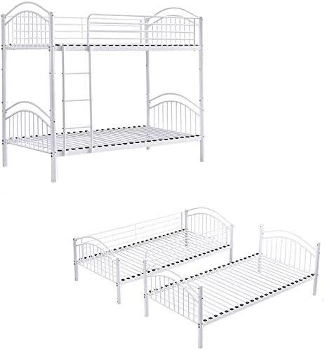 Metallo telaio del letto letto a castello lettino per bambini camera da letto telaio a doppia in acciaio adatto per i bambini e gli adolescenti ostello per adulti,Black-2 in 1 Bunk Bed
