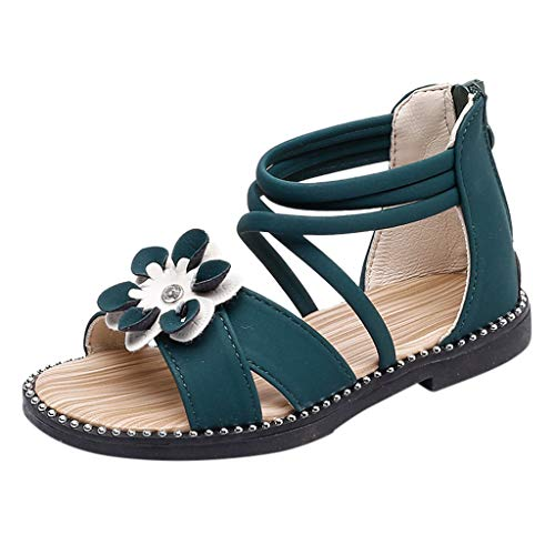 Mysky Baby Kids Girls Summer Popular Lovely Single Flower Criss Cross Belt Comfy Flat Zip Sandals Green