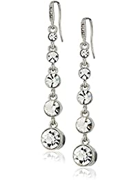 Grad Linear Silver White Earrings