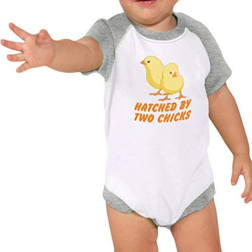 Hatched by Two Chicks Short Sleeve Taped Neck Boys-Girls Cotton Baby Raglan Bodysuit One Piece - White Heather Gray, 6 Months -