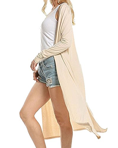 Cárdigan de Manga Larga Mujeres Punto Flojo Suéter Outwear Suéter Capa Chaqueta Beige