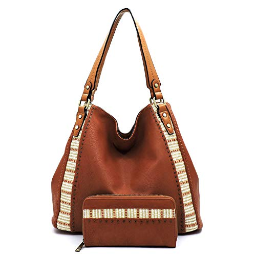Vegan Faux Leather Straw Stripe Trim Easy Carrying Hobo Shoulder Purse with Matching Wallet (Brown)