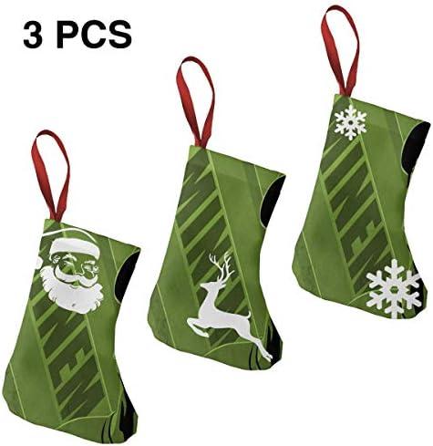 クリスマスの日の靴下 (ソックス3個)クリスマスデコレーションソックス 音楽Eminem クリスマス、ハロウィン 家庭用、ショッピングモール用、お祝いの雰囲気を加える 人気を高める、販売、プロモーション、年次式
