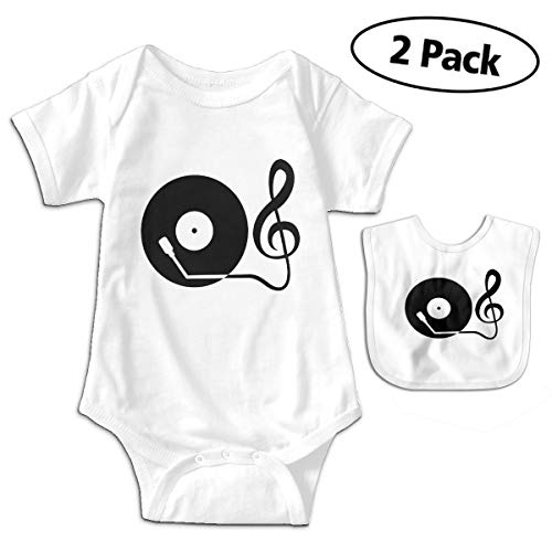 (LMJ-PPF Record Player Unisex Baby Short-Sleeve Bodysuits Onesies Give Baby Bib, White 0-3M)