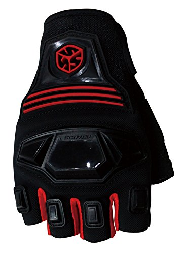 CRAZY AL'S SCOYCO MC24D Motorcycle Fingerless Gloves Sports Protective Gear Shock Resistant Padded Fingerless Safety Breathable Motorcycle Gloves (M, Red)