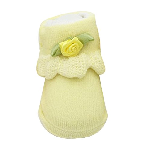 Zhhlinyuan Toddler Girls Bebé Princess Cotton Socks Cute Ribbon Lace Sock 0-6 months Yellow