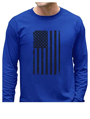 Big Black American Flag - Vintage USA Flag 4th of July Long Sleeve T-Shirt XX-Large Blue -