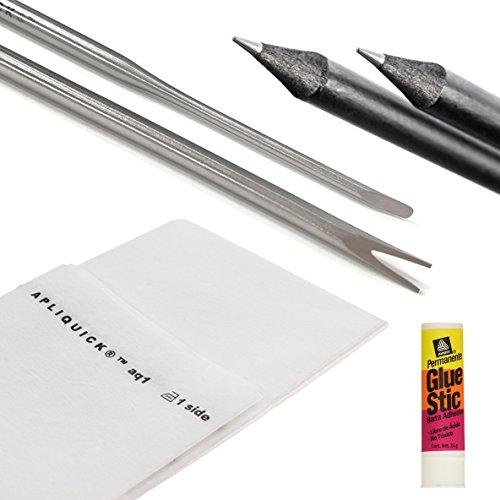 Apliquick Applique Starter Kit - 4 Items: Apliquick Rods Bundled with 2 Apliquick Fabric Marker Pencils, 1 Yard Apliquick Fusible Stabilizer, 1 Avery Glue - Fabric Applique Kit