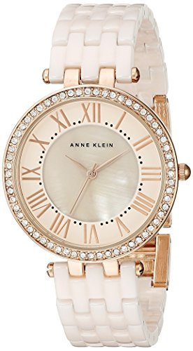 Anne Klein Women's AK/2130RGLP Swarovski Crystal-Accented Rose Gold-Tone and Light Pink Ceramic Bracelet ()