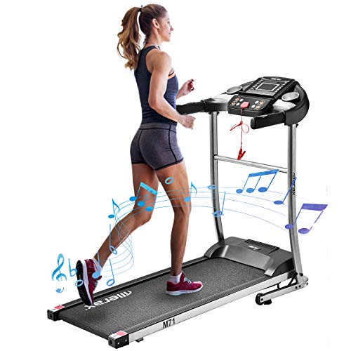 Merax Small Treadmill Easy Assembly Folding Electric Treadmill Motorized Walking Jogging Running Machine with MP3 Speaker