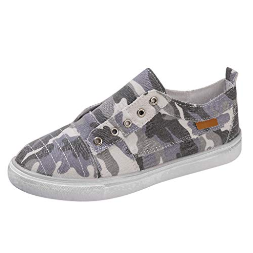 HIRIRI Camouflage Fashion Ladies Sports Denim Camouflage Canvas Shoes Flats Loafers for Women