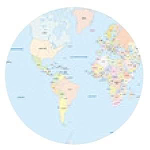alfombrilla de ratón Mapa del mundo en alemán - ronda - 20cm