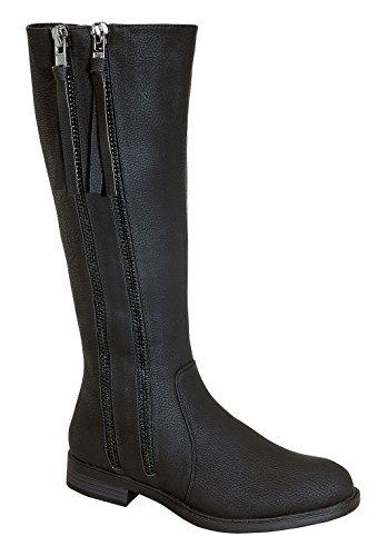Pita-38 Women's Dual Zipper Design Knee High Causal Rider Boots Black 8 (Fancy Dress Boots)