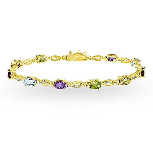 Sterling Silver Multi Color Stone - Yellow Gold Flashed Sterling Silver Multi Color Gemstone Oval-Cut Swirl Tennis Bracelet