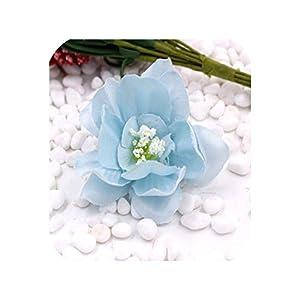 Handmade Mini Artificial Silk Peony Flowers Heads Scrapbooking Flower,Sky Blue,10Pcs 4.5cm 18