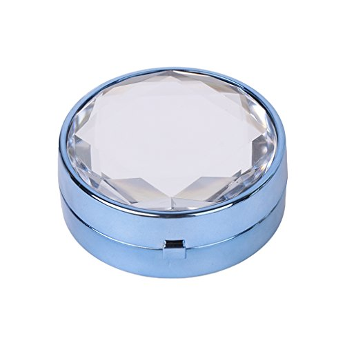 Blue Diamond Mirror Lens (Sarora Mini Contact Lenses Box - Diamond Exquisite Contact Lens Travel Kit Case with Mirror for Home and Travel (Blue))