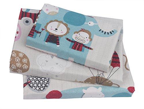 Animal Boys - Boys & Girls Animal City Printed Twin Sheet Set, 100% Cotton, Flat Sheet + Fitted Sheet + Pillowcase 3 pieces Bedding Set
