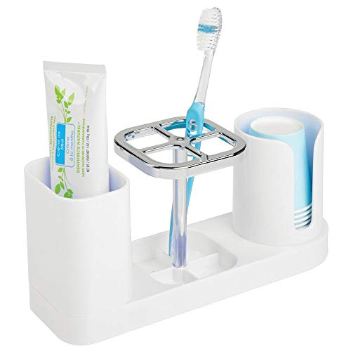 mDesign Plastic Bathroom Vanity Countertop Dental Storage Organizer Holder Stand for Electric Spin Toothbrushes/Toothpaste with Compartment for Rinse Cups - Compact Design - - Toothbrush Holder In Drawer