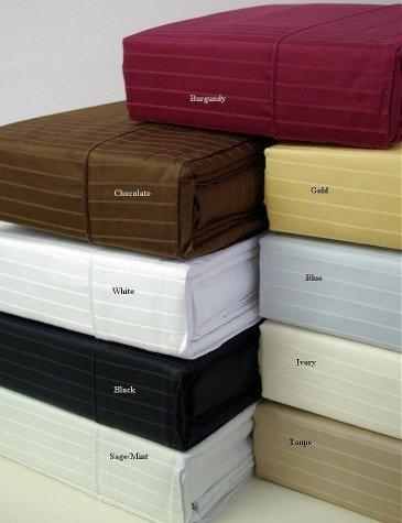 310 Thread Count Pin Stripe Waterbed Sheet Set Calking (White)