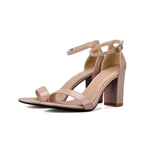 Bequem Damen Sandalen Frauen Absatz Blockabsatz Riemchensandalen Sommer Schuhe 48v7qP8