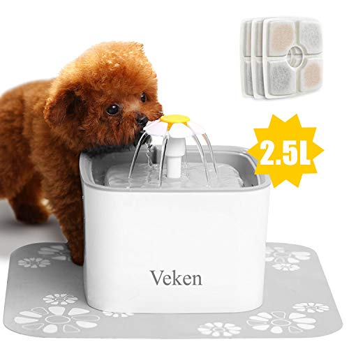 Veken Pet Fountain, 84oz/2.5L Automatic Cat Water Fountain Dog Water Dispenser with 3 Replacement Filters & 1 Silicone Mat for Cats, Dogs, Multiple Pets, Grey from Veken