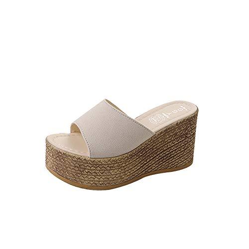 5f7d324fa6b0 Fond Épais Bout Chaussures Plates Casual De D'été Hauts Sandales Beige Été  2019 Subfamily Talons Femme ...
