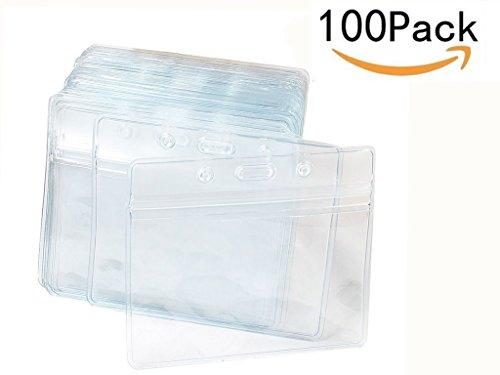 JKLcom Badge Holders Horizontal Badge Holders Waterproof Clear Plastic Name Tag Card Holders Badge Holder,100 Pack by JKLcom