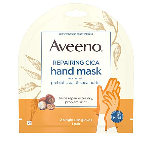 Aveeno Repairing CICA Hand Mask with Prebiotic Oat and Shea Butter for Extra Dry Skin, Paraben-Free and Fragrance-Free, 1 Pair of Single-Use Gloves