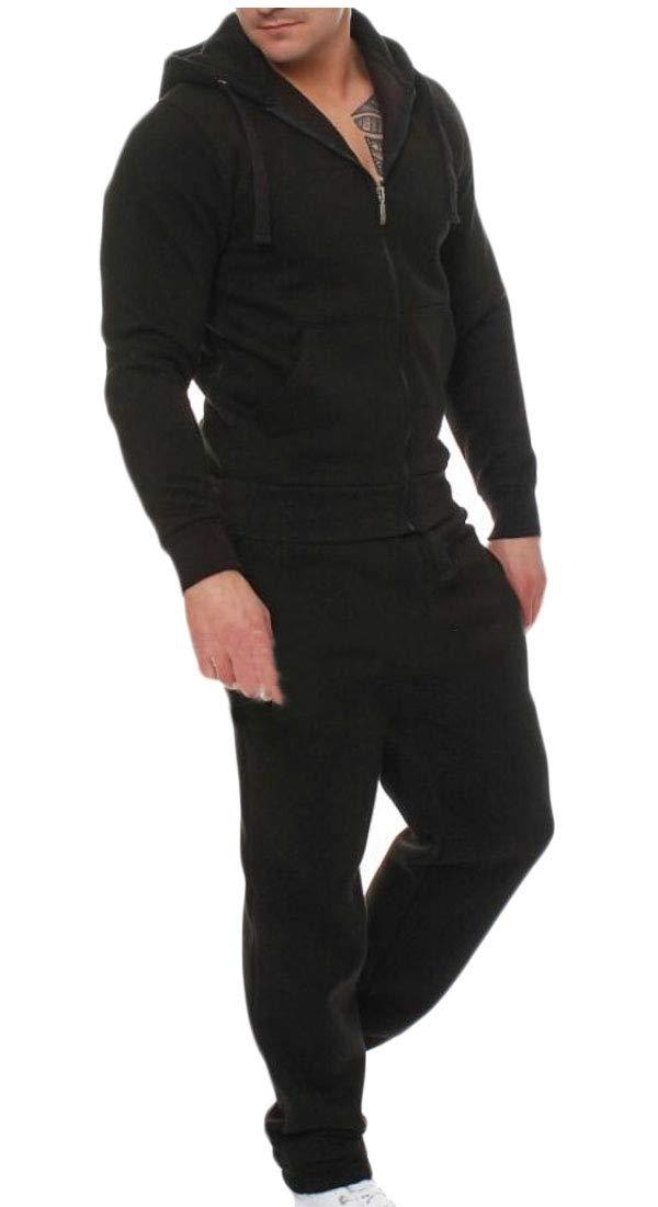 Black Large Maweisong Men Sets Winter Warm Sweatshirt Pants Sets Sports Tops Coats