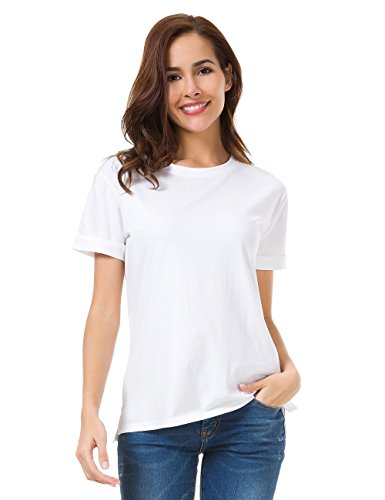 White, L, MOQUEEN Womens Loose Fitting Short Sleeve T Shirts Tops Cotton Casual - Knit Soft Blouse White